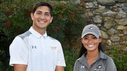 William Creery of Fallston, left, and Paula Moon of Patterson Mill each won District VII golf titles Wednesday at Mountain Branch Golf Course in Joppa.