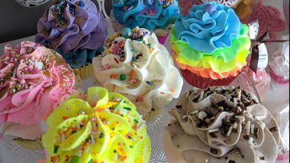 Sweet Suds Bath Boutique, a confectionary-inspired soap store, sells colorful bath products that look like desserts.