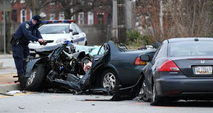 Two people were injured, one of them critically, in a crash on West North Avenue near Eutaw Place in Baltimore earlier this year. January 4, 2021. (Kim Hairston/Baltimore Sun).