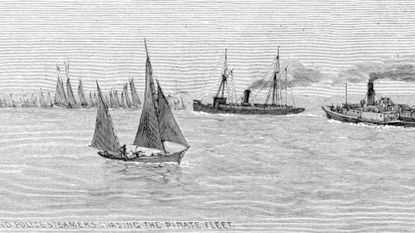 <p>In this Harper's Weekly Magazine illustration from the 1880s, Maryland steamers chase a pirate fleet.</p>