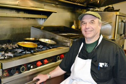 Jim Wilder in the kitchen at Sam's on the Waterfront.