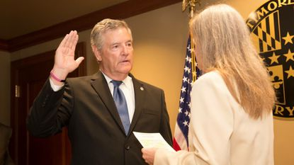 Don Mohler is sworn in as Baltimore County executive Tuesday morning. Clerk of the Court Julie Ensor administers the oath of office.