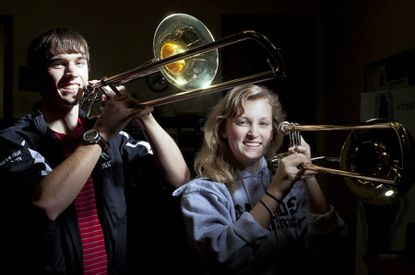 Steven Wolf and Katie Schlueter, senior trombonists at Atholton High School, marched in the Rose Bowl Parade this year with the Bands of America Honor Band.