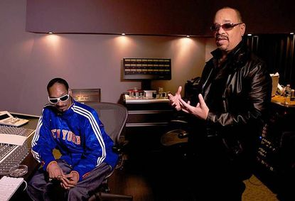 """Ice T, right, talks with rapper Snoop Dogg for his documentary """"Something From Nothing: The Art of Rap."""""""