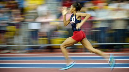 Franklin's Nyjari McNeil competes in the Class 3A 500-meter run, where she set a state record of 1 minute, 1:13.30 seconds, at the state indoor track and field championships Tuesday in Landover.