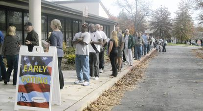 County residents flooded the Bain Center in Columbia, one of three early voting precincts in Howard County, on Saturday.