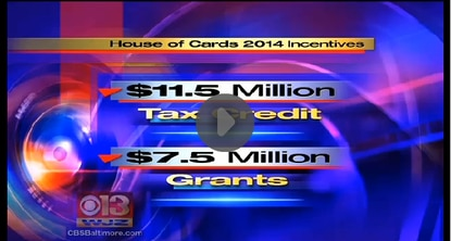 """This graphic shows where WJZ went wrong in reporting the deal last Friday that will keep """"House of Cards"""" in Maryland. It added $7.5 million into the package."""