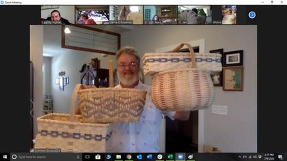 Split Woven Basketry instructor Keith Taylor shows off projects for different levels of students during a virtual class at Common Ground on the Hill.