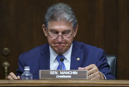 Sen. Joe Manchin, D-W.Va., chairs a Senate Energy and Natural Resources Committee hearing on infrastructure needs of the U.S. energy sector, western water and public lands, at the Capitol in Washington, Wednesday, June 23, 2021. (AP Photo/J. Scott Applewhite)
