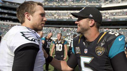 Two lightly regarded quarterbacks, the Philadelphia Eagles' Nick Foles, left, and Jacksonville Jaguars' Blake Bortles, shown in September 2014, could meet in this year's Super Bowl.