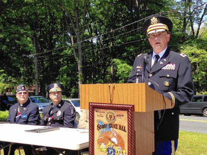 Army Col. Robert W. Batts, senior operations officer for the Army Public Health Command at Aberdeen Proving Ground, speaks during the Memorial Day ceremony in Aberdeen Monday.