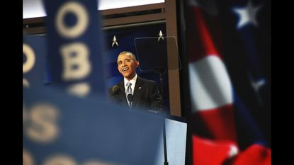 Barack Obama speaking at the Democratic National Convention