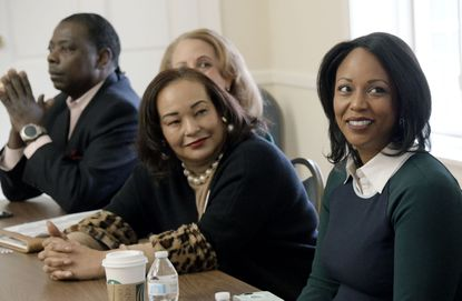 From left, Del. Talmadge Branch, Leslie Grant, state Sen. Jill Carter and Maya Rockeymoore Cummings at the 7th Congressional District candidate forum at Linden Hall on Feb. 1. The special primary election for the seat of the late U.S. Rep. Elijah Cummings is on Tuesday, Feb. 4.