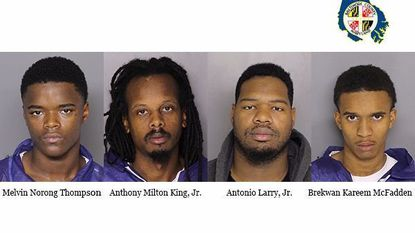 Booking photos of the four suspects charged in Baltimore County robberies.