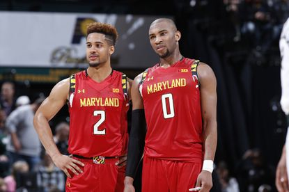 INDIANAPOLIS, IN - MARCH 12: Rasheed Sulaimon #0 and Melo Trimble #2 of the Maryland Terrapins look on against the Michigan State Spartans in the semifinals of the Big Ten Basketball Tournament at Bankers Life Fieldhouse on March 12, 2016 in Indianapolis, Indiana. Michigan State defeated Maryland 64-61. (Photo by Joe Robbins/Getty Images) ** OUTS - ELSENT, FPG, CM - OUTS * NM, PH, VA if sourced by CT, LA or MoD **