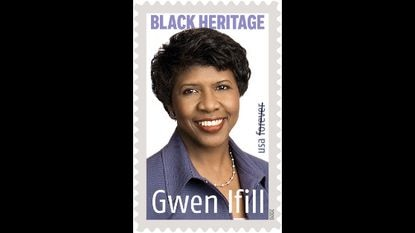 The 43rd stamp in the U.S. Postal Service's Black Heritage series honors journalist Gwen Ifill (1955–2016). The stamp features a photo of Ifill taken in 2008 by photographer Robert Severi. Among the first African Americans to hold prominent positions in both broadcast and print journalism including The Evening Sun in Baltimore, Ifill was a trailblazer in the profession. Art director Derry Noyes designed the stamp.