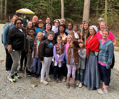 """About 40 people ranging in age from 7 to 70 gathered at the historic Hosanna School Museum in Darlington for a Girl Scout Gold Award Program """"Walk in Their Shoes."""""""
