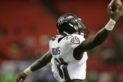 Baltimore Ravens free safety Terrence Brooks (31) warms up before the first half of an NFL football preseason game against the Atlanta Falcons, Thursday, Sept. 3, 2015, in Atlanta.