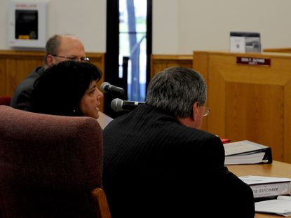 Harford County Public Schools Superintendent Barbara Canavan, center, speaks to members of the Harford County Council Thursday morning during the council's review of the HCPS budget for fiscal 2015.
