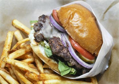 The build-your-own burger at On the Hill Cafe in Bolton Hill features a half pound of Angus Beef.