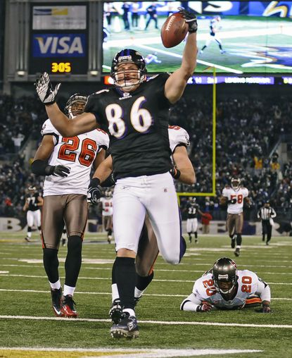 Todd Heap celebrates after a touchdown against the Tampa Bay Buccaneers in 2010.