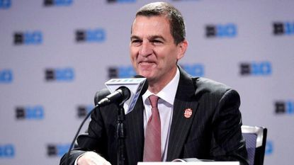 Maryland head coach Mark Turgeon smiles as he speaks at a press conference during Big Ten NCAA college basketball media day Thursday, Oct. 11, 2018, in Rosemont, Ill.