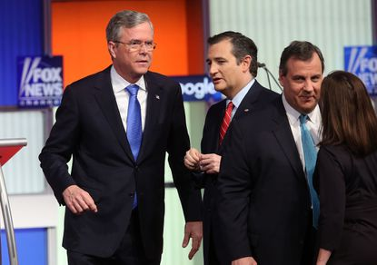 Republican presidential candidates, from left, Jeb Bush, Sen. Ted Cruz and New Jersey Governor Chris Christie after the Fox News-Google GOP Debate Thursday at the Iowa Events Center in Des Moines. Residents of Iowa will vote for the Republican nominee at the caucuses on Feb. 1. Donald Trump, who is leading most polls in the state, decided not to participate in the debate.