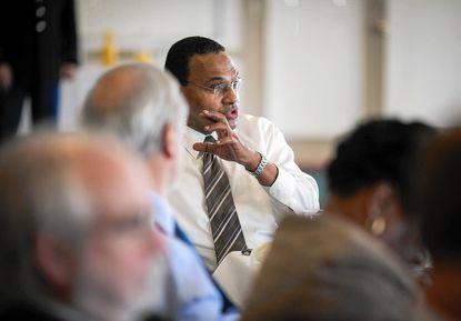 Freeman A. Hrabowski III, center, the president of UMBC, speaks during the meeting of the University System of Maryland's Board of Regents.
