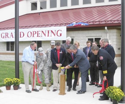 Director Steven T. Edwards is joined by members of the Maryland General Assembly, Maj. Gen Nick Justice of Aberdeen Proving Ground and fire service leaders as they cut the ribbon for the new North East Regional Training Center for the Maryland Fire and Rescue Institute Saturday.