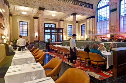 The main dining room at The Alexander Brown restaurant, which opened last year in the historic 1901 Alex. Brown & Sons bank building.
