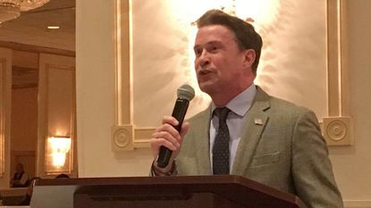 Harford County Executive Barry Glassman speaks during the Joppa-Magnolia Volunteer Fire Company awards banquet Saturday at the Richlin Ballroom in Edgewood. He pledged to allocate more than $500,000 in his fiscal 2019 budget to build a new Hanson Road fire station.