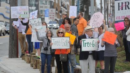 Protesters stand at the intersection of York and Bosley Avenue in Towson in April 2017 to protest the county's removal of trees using county money. The property is being purchased by developer Caves Valley Partners.