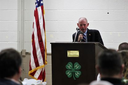 Del. Haven Shoemaker, R-5, warns farmers to hold on to their wallets as the Kirwan Commission recommendations come down the pipeline. Shoemaker was among several state legislators who spoke at the Carroll County Farm Bureau legislative dinner Jan. 6, 2020 at the Carroll County Agricultural Center.