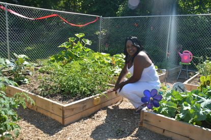 """Precious Fraling at the new """"recovery garden"""" at Glenwood Life Counseling Center, a methadone clinc and addiction counseling facility."""