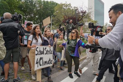 Students march outside the United Nations during a protest against climate change on September 6.