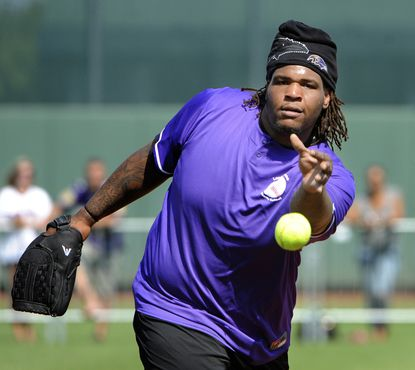 Terrence Cody at the Lardarius Webb Charity Softball Game in June.