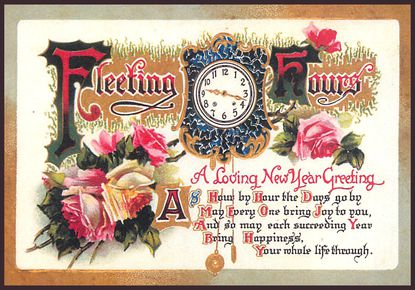 A New Year's card from 1905 is shown.