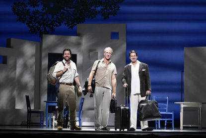 """Left to right: John-Michael Zuerlein, Chrisitan Whelan and Paul DeBoy star in """"Mamma Mia,"""" which plays at the <a href=""""http://findlocal.baltimoresun.com/listings/hippodrome-theatre-at-the-france-merrick-performing-arts-center-baltimore"""">Hippodrome</a>."""