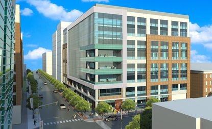 This is a rendering of the multi-tenant office building that Wexford Science + Technology has proposed building at 873 W. Baltimore Street in the University of Maryland, Baltimore BioPark. Photo courtesy of Wexford Science + Technology.