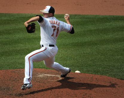 Orioles pitcher Oliver Drake pitches in relief during the eighth inning.