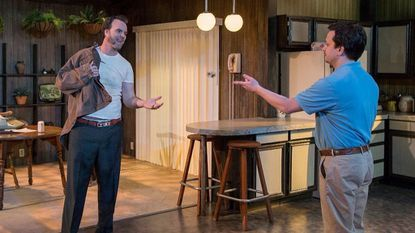 """Tim Getman and Daniel Corey in Rep Stage's production of """"True West,"""" the final production of its 25th season."""