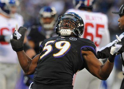 Ravens linebacker Dannell Ellerbe celebrates a sack against the New York Giants.