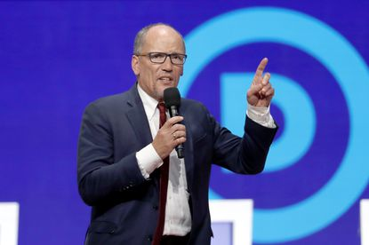 Tom Perez speaks before a Democratic presidential primary debate hosted by CNN/New York Times at Otterbein University, Tuesday, Oct. 15, 2019, in Westerville, Ohio.