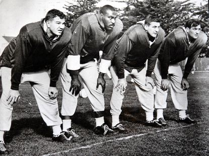 """Don Joyce (left with Gene """"Big Daddy"""" Lipscomb, Ordell Braase and Gino Marchetti)."""