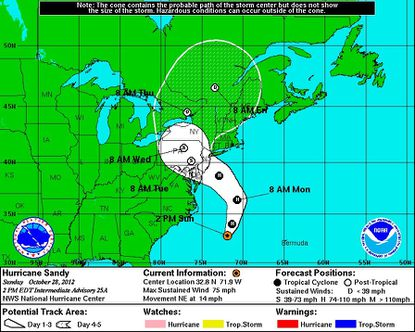 The cone of the storm's probable course as of 2 p.m. Sunday.