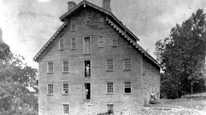 "This handsome mill, now demolished, stood on the property once owned by David Kephart. In the 1850s the Kephart family sold the land to W.W. Dallas who renamed it ""Trevanion"" and made major changes to the buildings."