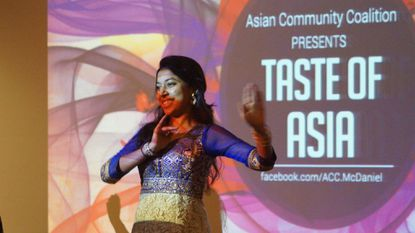 Dancing in Indian garb is Arathy Manoharan at the Taste of Asia, presented by the Asian Community Coalition of McDaniel College, to be held this year on Thursday, Feb. 22.