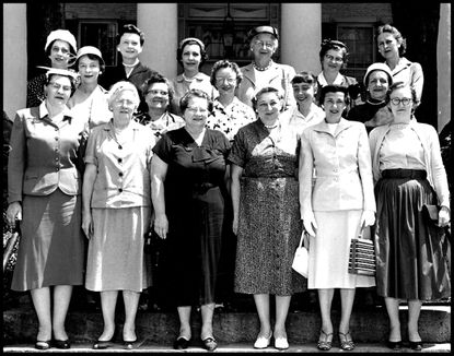 """The first women selected for a Carroll County jury served at the May term of the Circuit Court in 1957. The Democratic Advocate newspaper noted in an article that for the first time """"in addressing the jury the attorneys will say 'ladies and gentlemen of the jury.'"""" The women are: first row, left to right, Mary Rineman, Nellie Hare, Maurice R. Leister, Margaret E. Stewart, Dorothy F. Cootes, and Pearl L. Bollinger; second row, Estalla Frick, Marie Powell, Nellie Lantz, Katherine S. Chrysler, and Dorothy Stegman; third row, Maude Seipp, Lynda Hahn, Ruth G. Elderdice, Lillian Chew, Ethel Devilbiss, and Dorothy Card."""