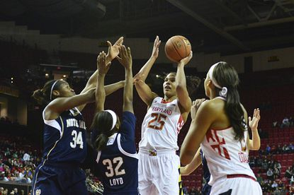 Maryland's Alyssa Thomas shoots over Notre Dame's Markisha Wright (34) and Jewell Loyd during the second half at Comcast Center.