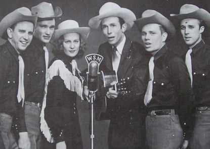"""1949: 'Lovesick Blues' by Hank Williams with His Drifting Cowboys   Number of weeks spent as #1: 12   This show tune originally appeared in the musical """"Oh Ernest,"""" and Hank Williams played """"Lovesick Blues"""" during his first appearance on the groundbreaking """"Louisiana Hayride"""" show. Music industry trade magazineCash Box dubbed the song the """"Best Hillbilly Record of the Year."""" (MGM Records/Wikimedia Commons)"""